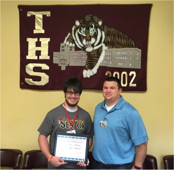 Terrebonne Senior Jacob Olivier received the overall prize from the South Central Louisiana Services Authority for the  Art of Respect  essay writing contest.