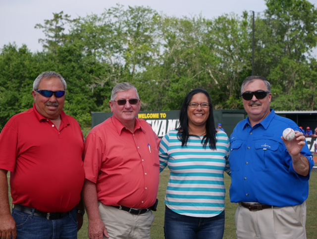 04-13-17 Col. Tommy Odom, School Board President Roger Dale DeHart, School Board Vice President Vicki Bonvillain, and Sheriff Jerry Larpenter are in attendance at the South Terrebonne Baseball Game.