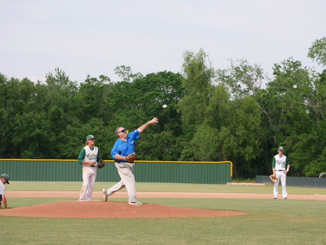 04-13-17 - Sheriff Jerry Larpenter throws out the first pitch on South Terrebonne s Baseball Field.