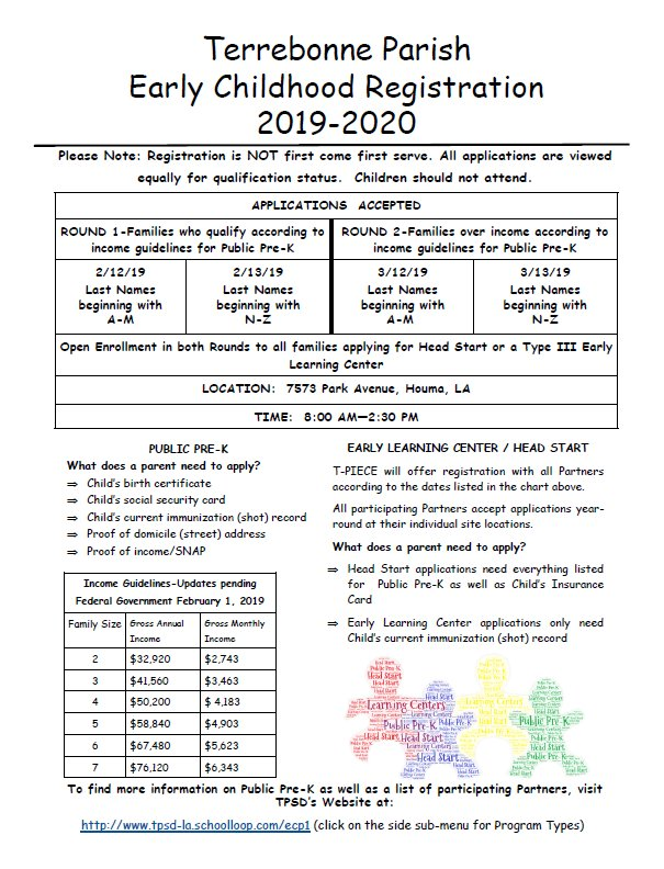 2019-2020 Early Childhood Registration